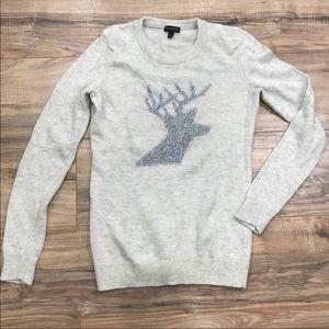 Talbots Reindeer Christmas Grey Sweater